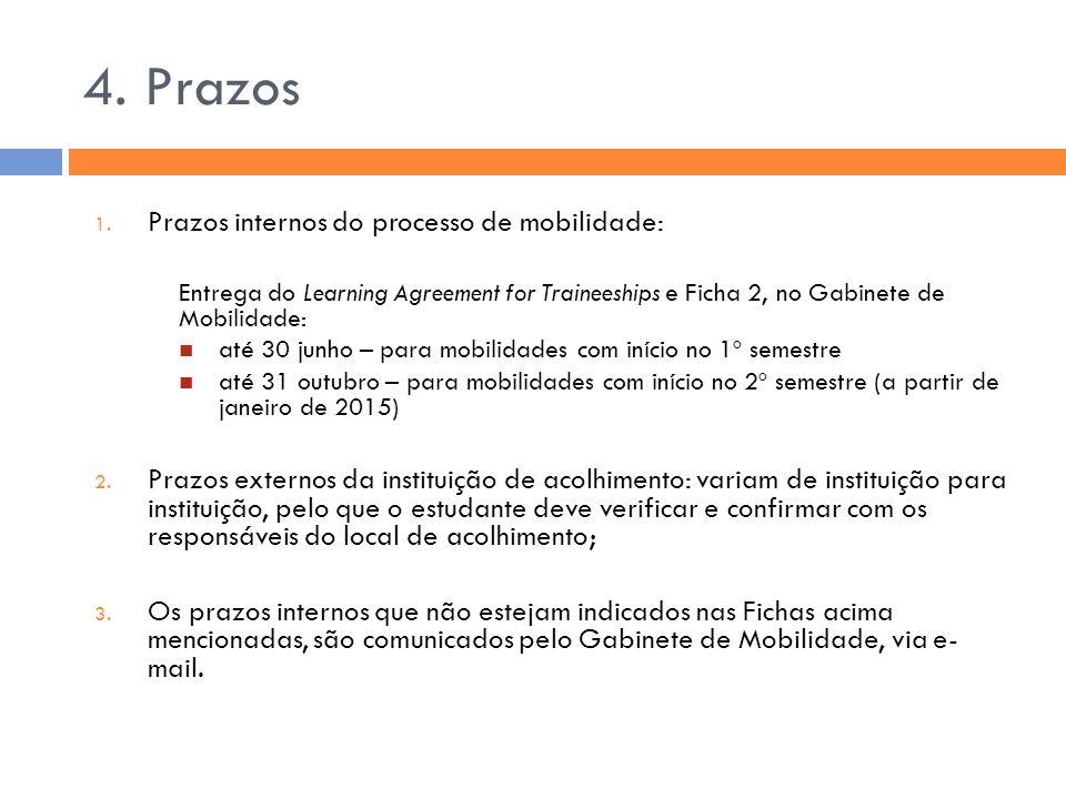 4. Prazos 1. Prazos internos do processo de mobilidade: Entrega do Learning Agreement for Traineeships e Ficha 2, no Gabinete de Mobilidade: até 30 ju