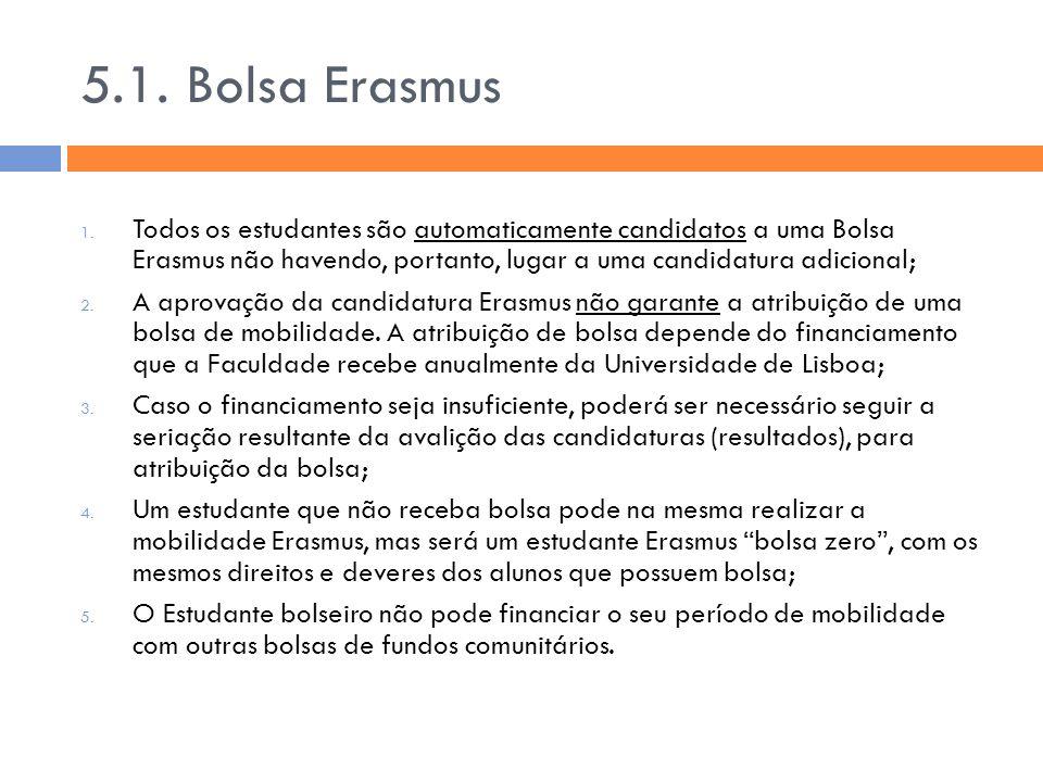 5.1. Bolsa Erasmus 1. Todos os estudantes são automaticamente candidatos a uma Bolsa Erasmus não havendo, portanto, lugar a uma candidatura adicional;