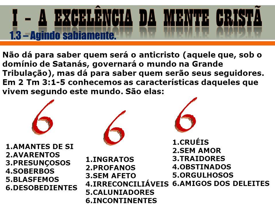 1.3 – Agindo sabiamente. 1.AMANTES DE SI 2.AVARENTOS 3.PRESUNÇOSOS 4.SOBERBOS 5.BLASFEMOS 6.DESOBEDIENTES 1.INGRATOS 2.PROFANOS 3.SEM AFETO 4.IRRECONC