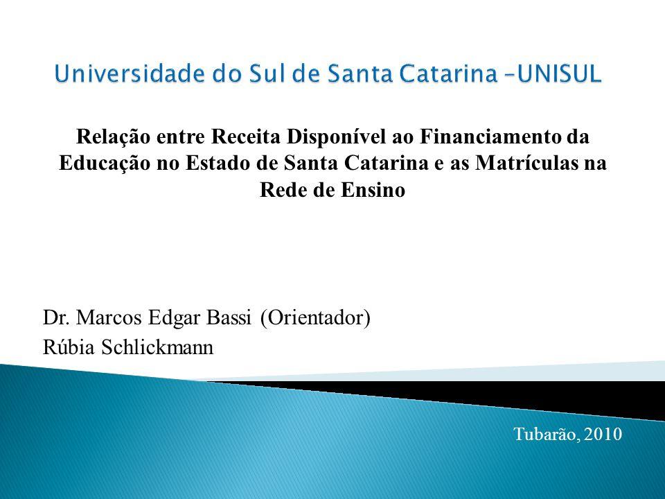Relação entre Receita Disponível ao Financiamento da Educação no Estado de Santa Catarina e as Matrículas na Rede de Ensino Dr.