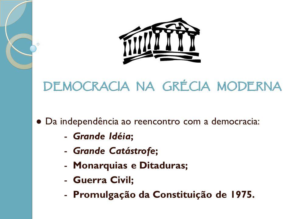 Da independência ao reencontro com a democracia: - Grande Idéia; - Grande Catástrofe; - Monarquias e Ditaduras; - Guerra Civil; - Promulgação da Const