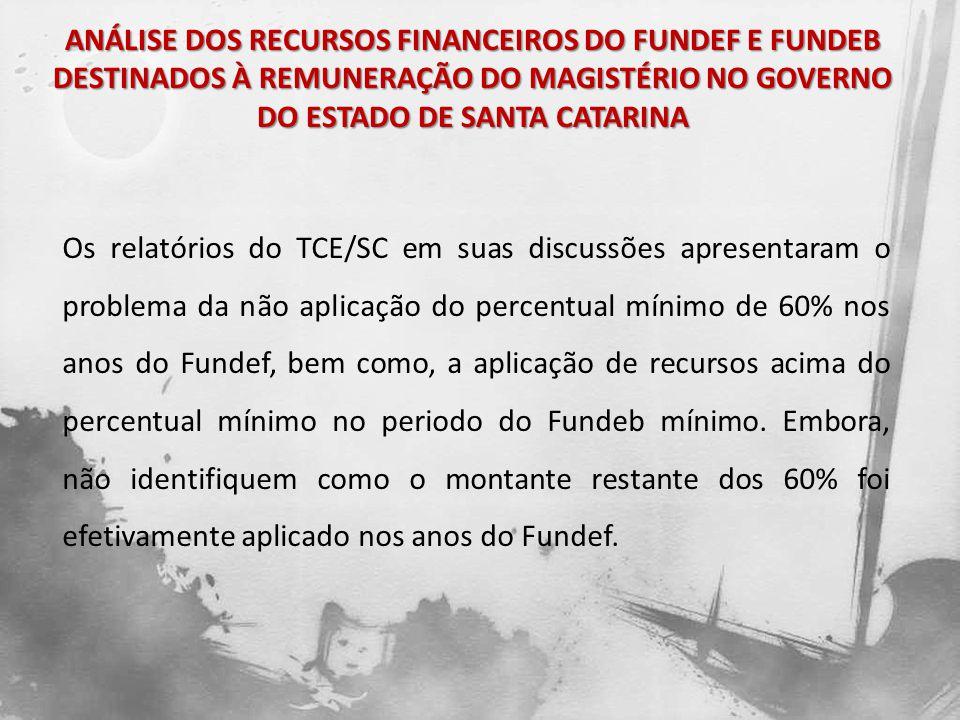 Os relatórios do TCE/SC em suas discussões apresentaram o problema da não aplicação do percentual mínimo de 60% nos anos do Fundef, bem como, a aplica