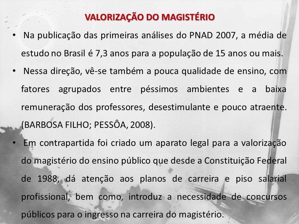 VALORIZAÇÃO DO MAGISTÉRIO Na publicação das primeiras análises do PNAD 2007, a média de estudo no Brasil é 7,3 anos para a população de 15 anos ou mai