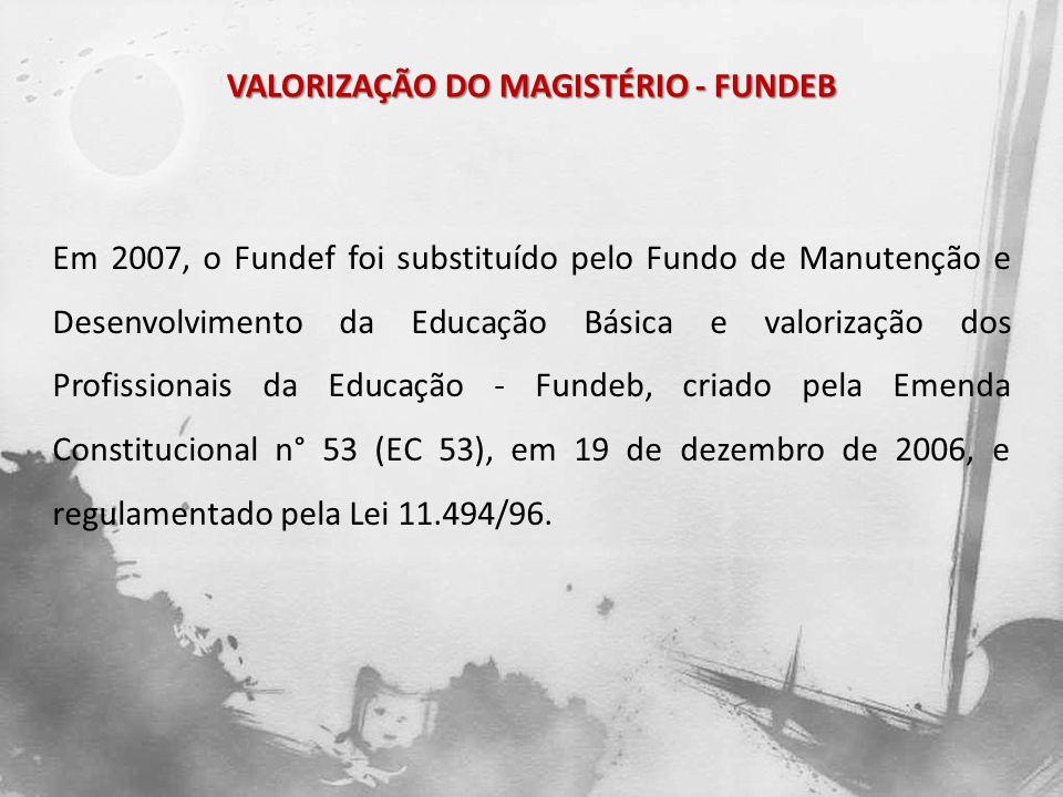 VALORIZAÇÃO DO MAGISTÉRIO - FUNDEB Em 2007, o Fundef foi substituído pelo Fundo de Manutenção e Desenvolvimento da Educação Básica e valorização dos P