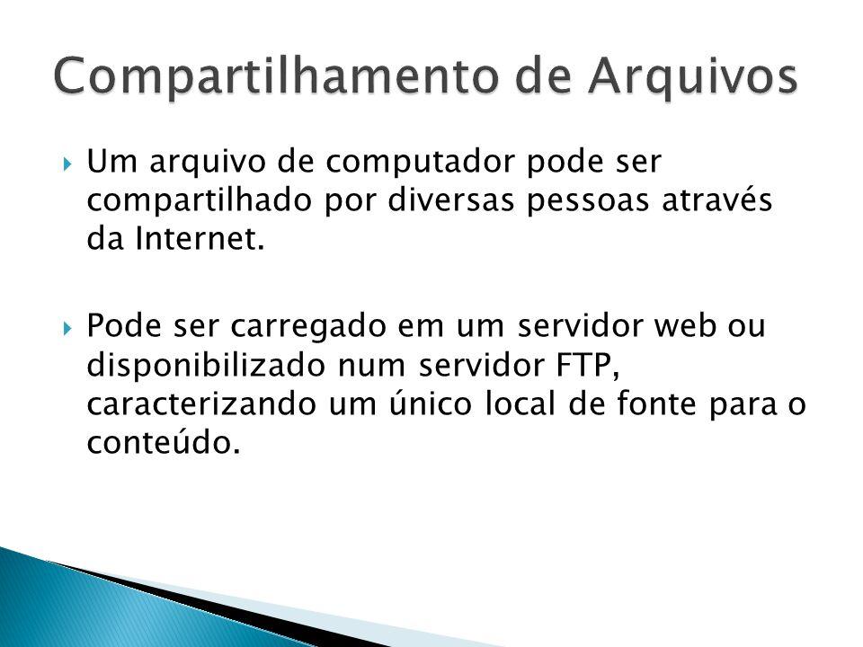Um arquivo de computador pode ser compartilhado por diversas pessoas através da Internet. Pode ser carregado em um servidor web ou disponibilizado num