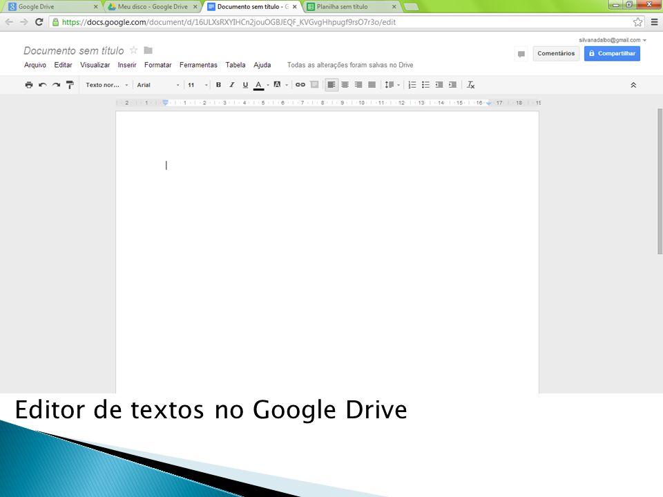 Editor de textos no Google Drive