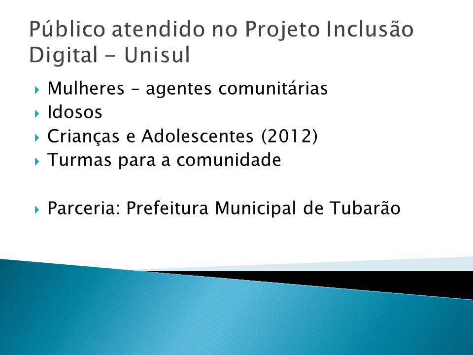 Público atendido no Projeto Inclusão Digital - Unisul Mulheres – agentes comunitárias Idosos Crianças e Adolescentes (2012) Turmas para a comunidade P