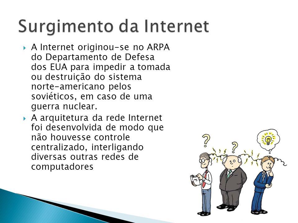 A Internet originou-se no ARPA do Departamento de Defesa dos EUA para impedir a tomada ou destruição do sistema norte-americano pelos soviéticos, em caso de uma guerra nuclear.