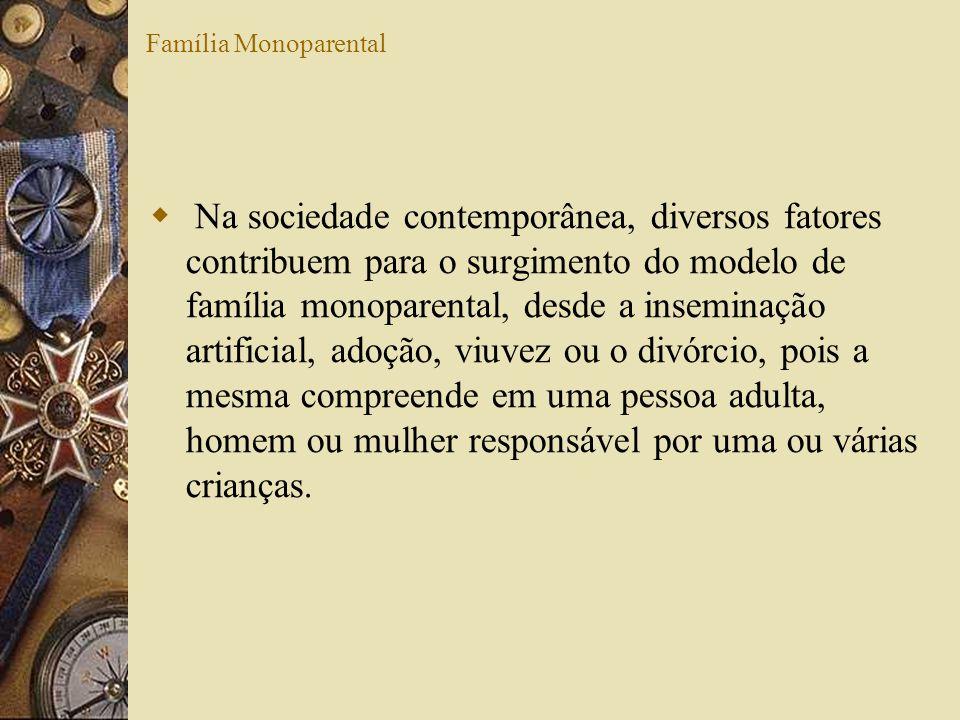 Família Monoparental Na sociedade contemporânea, diversos fatores contribuem para o surgimento do modelo de família monoparental, desde a inseminação