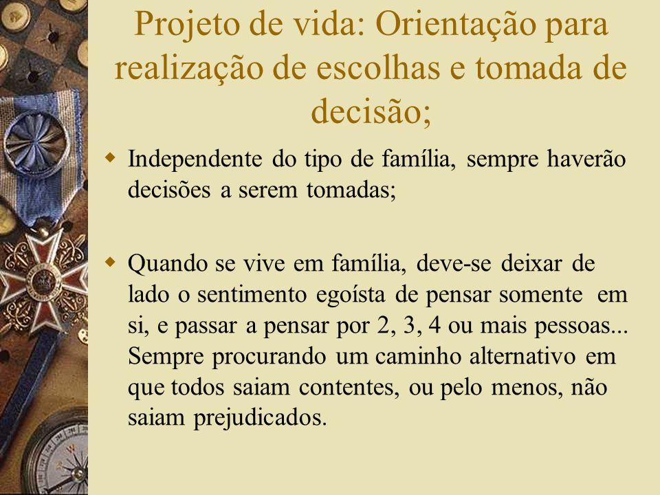Projeto de vida: Orientação para realização de escolhas e tomada de decisão; Independente do tipo de família, sempre haverão decisões a serem tomadas;