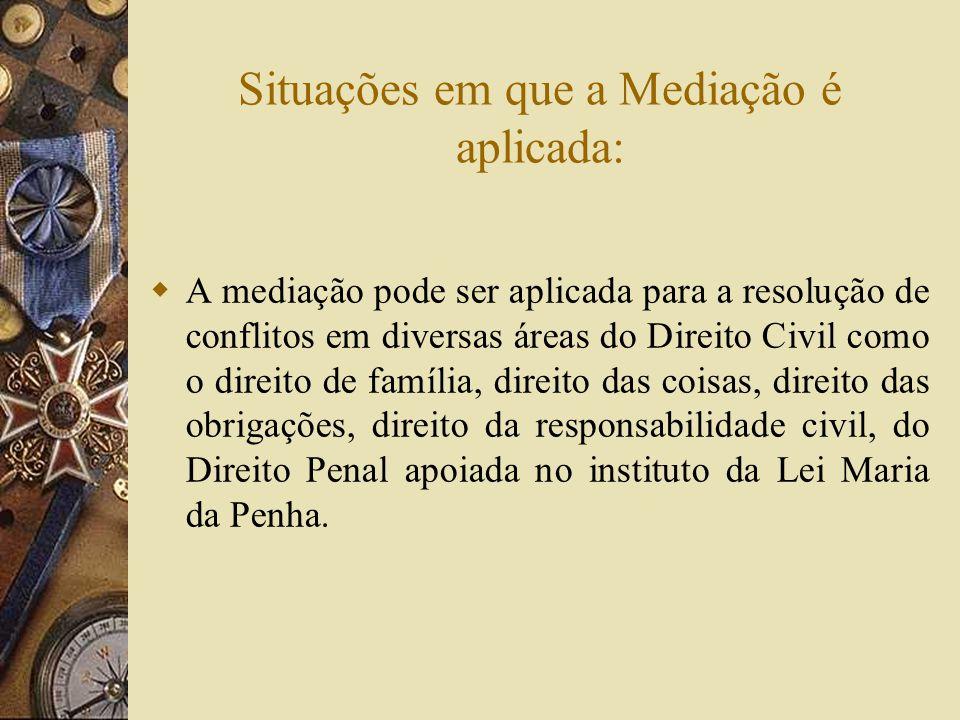Situações em que a Mediação é aplicada: A mediação pode ser aplicada para a resolução de conflitos em diversas áreas do Direito Civil como o direito d
