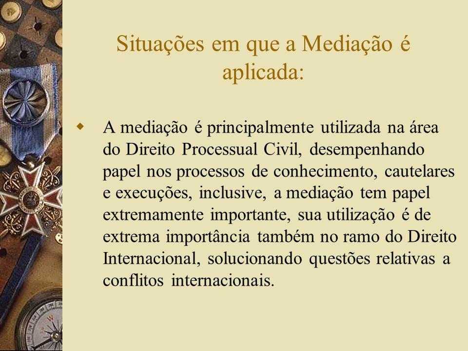 Situações em que a Mediação é aplicada: A mediação é principalmente utilizada na área do Direito Processual Civil, desempenhando papel nos processos d