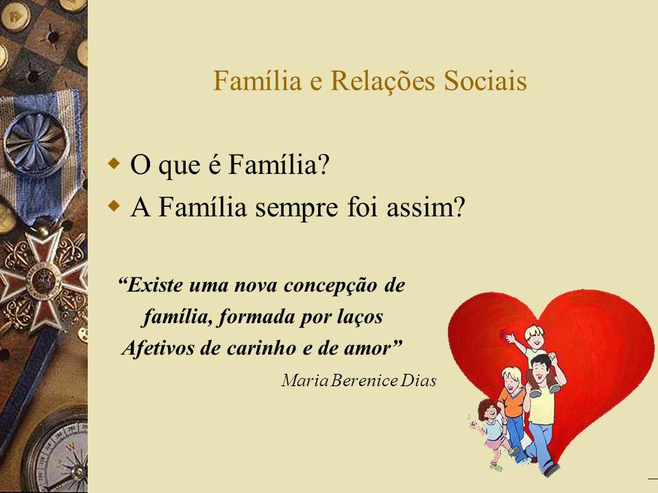 Família e Relações Sociais O que é Família? A Família sempre foi assim? Existe uma nova concepção de família, formada por laços Afetivos de carinho e