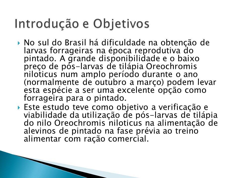 No sul do Brasil há dificuldade na obtenção de larvas forrageiras na época reprodutiva do pintado. A grande disponibilidade e o baixo preço de pós-lar
