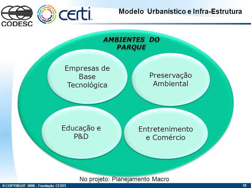 © COPYRIGHT 2008 - Fundação CERTI 19 Empresas de Base Tecnológica Educação e P&D Preservação Ambiental Preservação Ambiental Entretenimento e Comércio