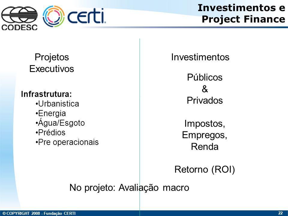 © COPYRIGHT 2008 - Fundação CERTI 22 Projetos Executivos Investimentos e Project Finance Infrastrutura: Urbanistica Energia Água/Esgoto Prédios Pre op