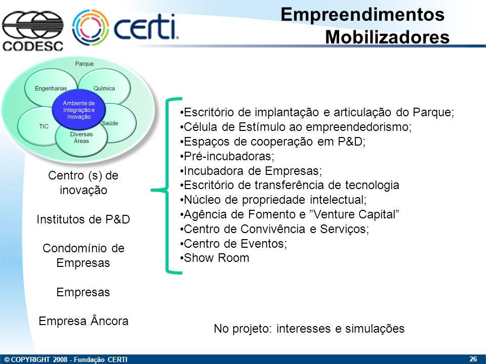© COPYRIGHT 2008 - Fundação CERTI 26 Escritório de implantação e articulação do Parque; Célula de Estímulo ao empreendedorismo; Espaços de cooperação