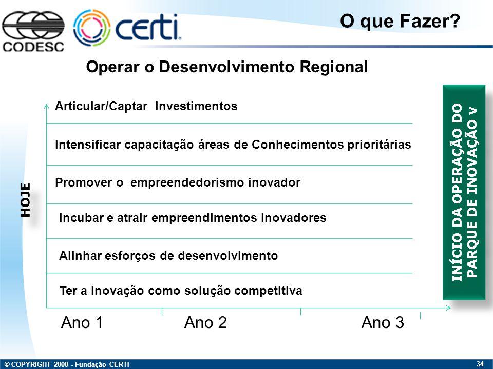 © COPYRIGHT 2008 - Fundação CERTI 34 Ano 1Ano 2Ano 3 Operar o Desenvolvimento Regional O que Fazer? Articular/Captar Investimentos Intensificar capaci