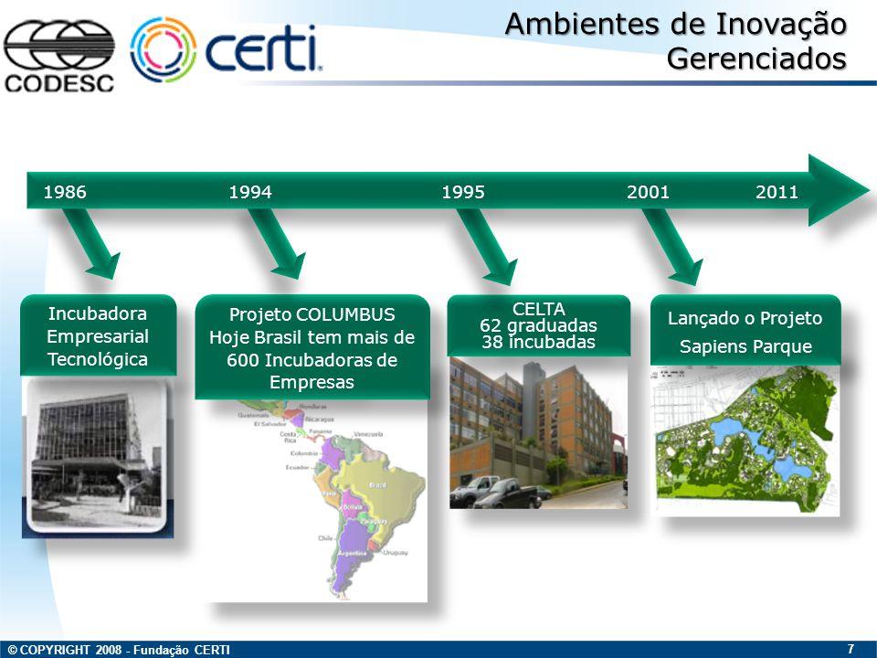© COPYRIGHT 2008 - Fundação CERTI 8 Atuação e Projetos do Centro de Empreendedorismo Inovador Empreendedorismo Incubação Parque Tecnológico Parque Tecnológico Cluster Pólo Tecnológico Pólo Tecnológico