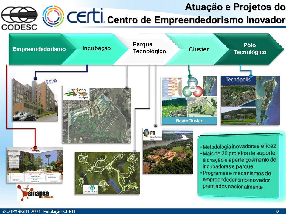 © COPYRIGHT 2008 - Fundação CERTI 19 Empresas de Base Tecnológica Educação e P&D Preservação Ambiental Preservação Ambiental Entretenimento e Comércio AMBIENTES DO PARQUE Modelo Urbanístico e Infra-Estrutura No projeto: Planejamento Macro