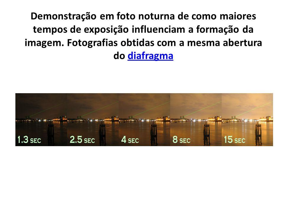 Demonstração em foto noturna de como maiores tempos de exposição influenciam a formação da imagem. Fotografias obtidas com a mesma abertura do diafrag