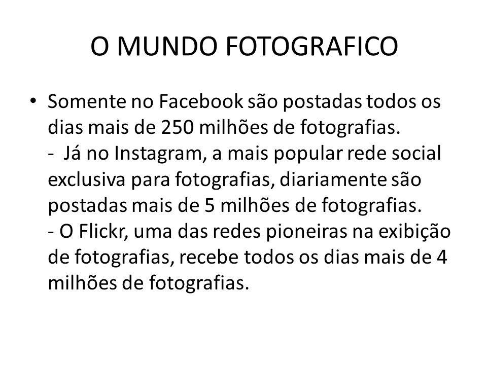 O MUNDO FOTOGRAFICO Somente no Facebook são postadas todos os dias mais de 250 milhões de fotografias. - Já no Instagram, a mais popular rede social e