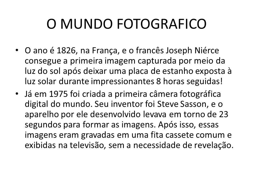 O MUNDO FOTOGRAFICO O ano é 1826, na França, e o francês Joseph Niérce consegue a primeira imagem capturada por meio da luz do sol após deixar uma pla
