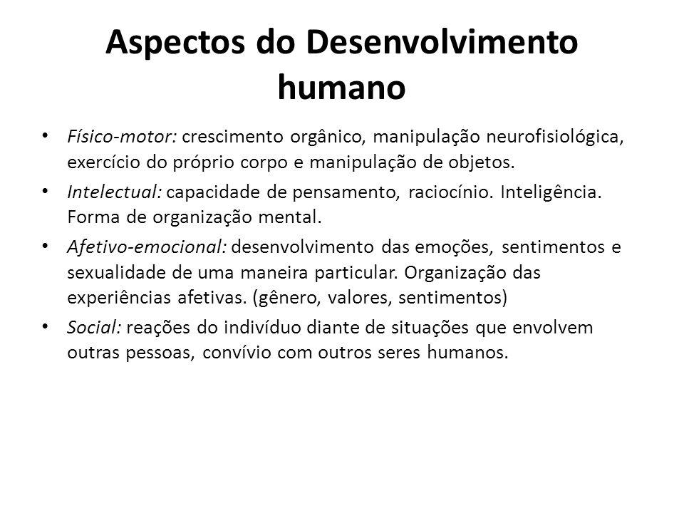 Aspectos do Desenvolvimento humano Físico-motor: crescimento orgânico, manipulação neurofisiológica, exercício do próprio corpo e manipulação de objetos.