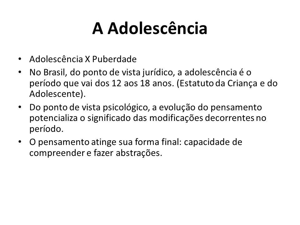 A Adolescência Adolescência X Puberdade No Brasil, do ponto de vista jurídico, a adolescência é o período que vai dos 12 aos 18 anos. (Estatuto da Cri