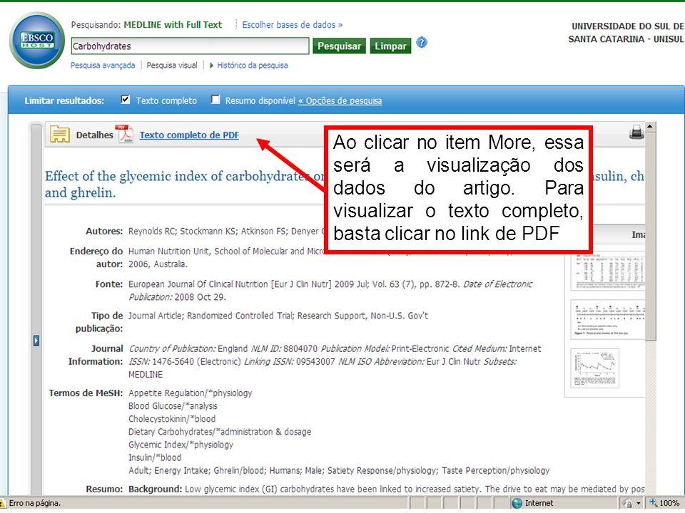 Ao clicar no item More, essa será a visualização dos dados do artigo. Para visualizar o texto completo, basta clicar no link de PDF