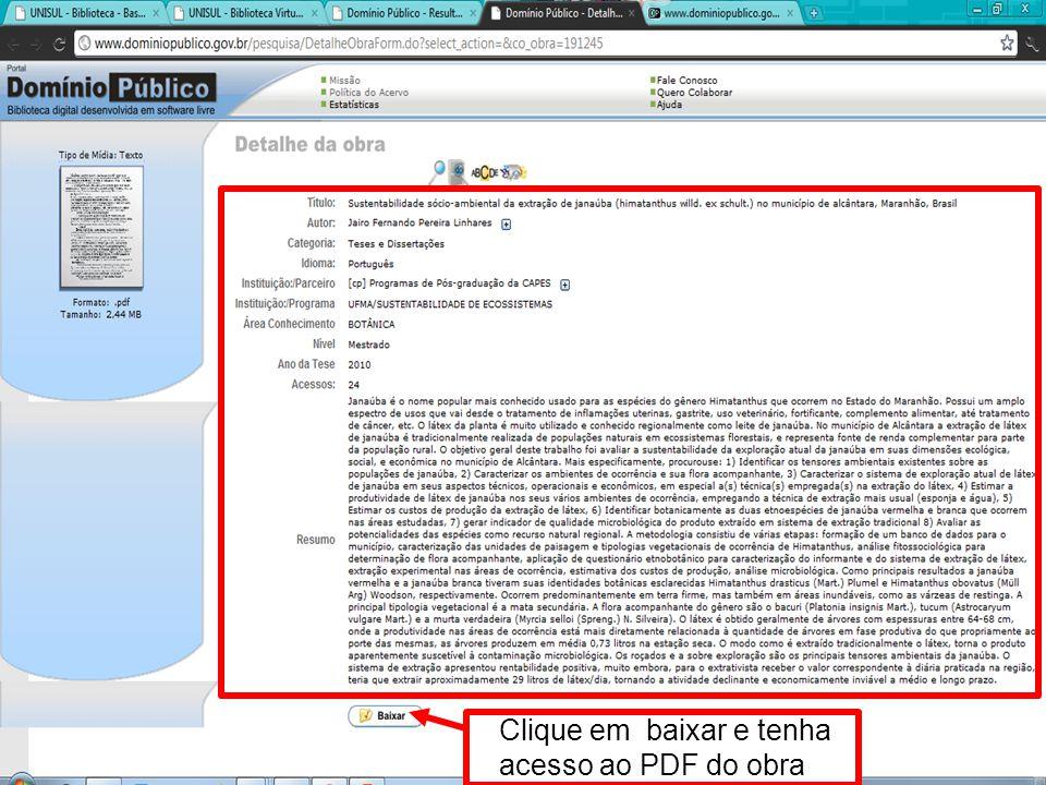 Clique em baixar e tenha acesso ao PDF do obra