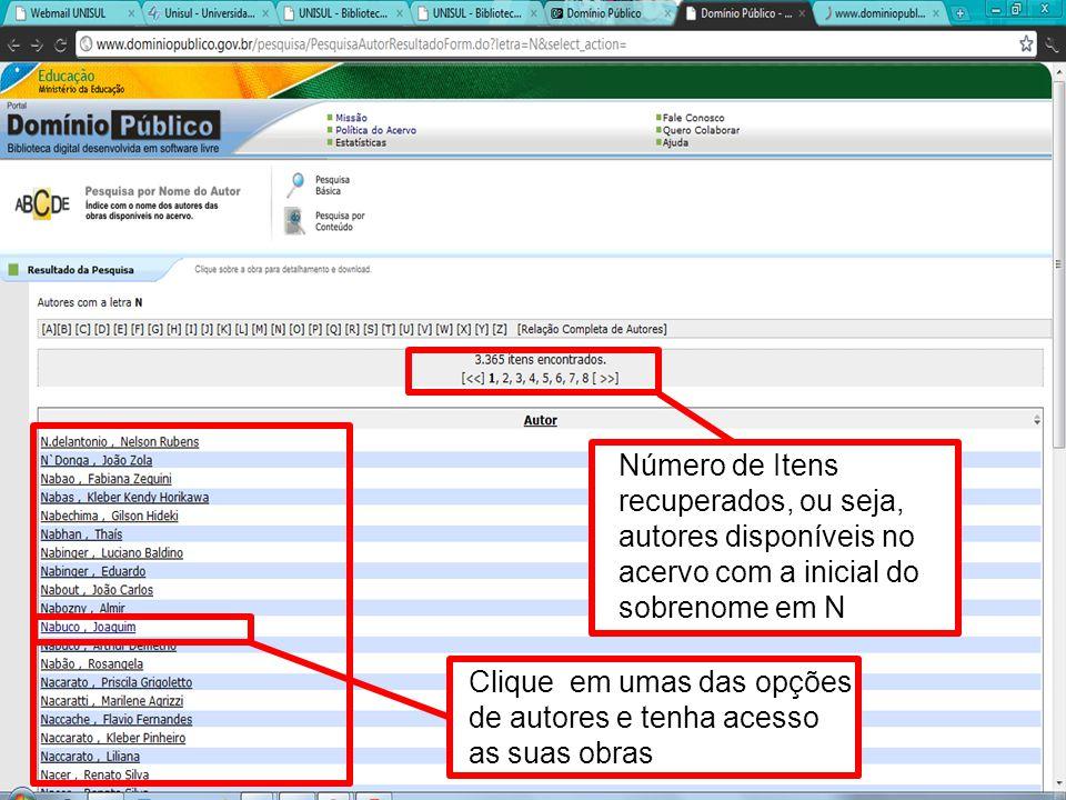 Número de Itens recuperados, ou seja, autores disponíveis no acervo com a inicial do sobrenome em N Clique em umas das opções de autores e tenha acess