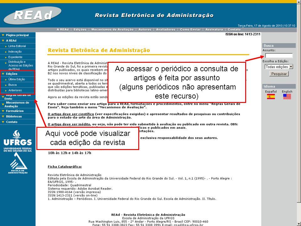 É possível ler o resumo e ter acesso ao texto completo em PDF
