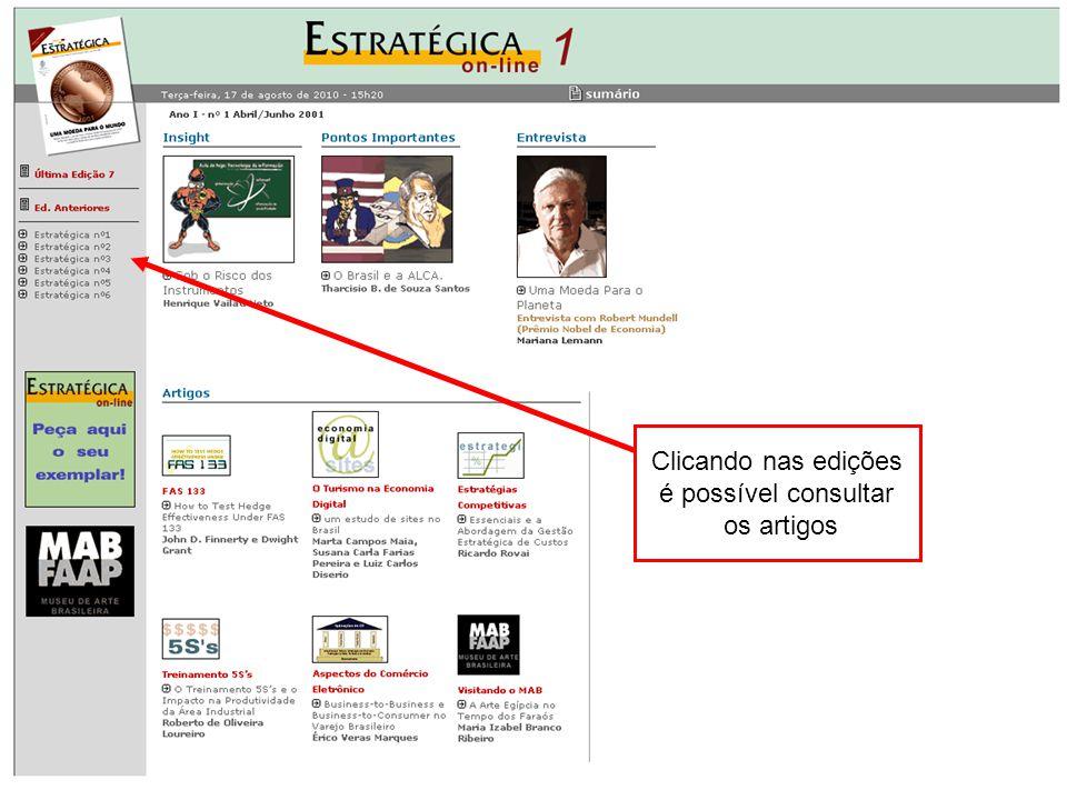Link para acesso ao periódico Clicando nas edições é possível consultar os artigos