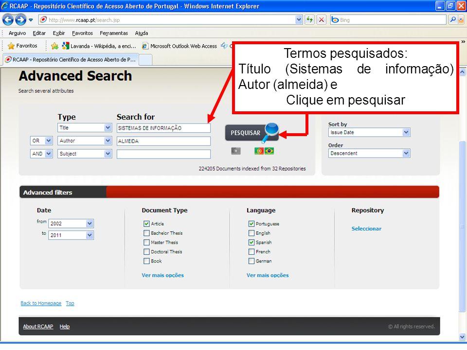 Termos pesquisados: Título (Sistemas de informação) Autor (almeida) e Clique em pesquisar