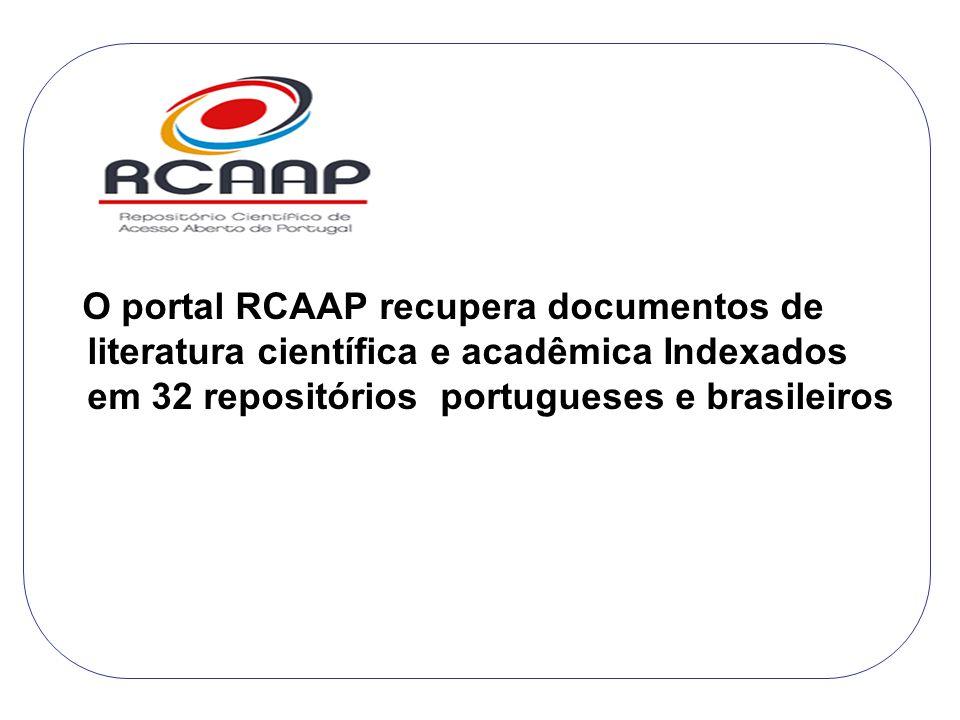 O portal RCAAP recupera documentos de literatura científica e acadêmica Indexados em 32 repositórios portugueses e brasileiros