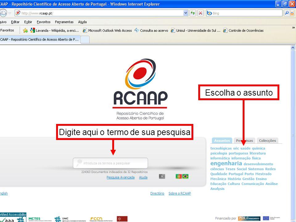 cc Observe a quantidade de documentos recuperados Neste campo informações relacionadas ao documento, data de publicação e repositório de origem