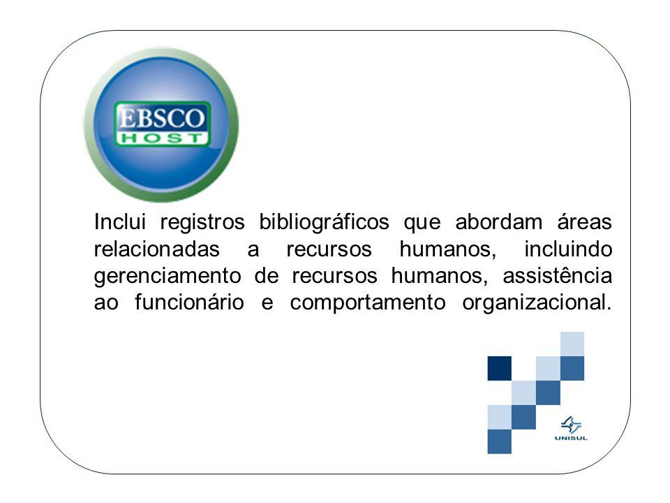Inclui registros bibliográficos que abordam áreas relacionadas a recursos humanos, incluindo gerenciamento de recursos humanos, assistência ao funcionário e comportamento organizacional.