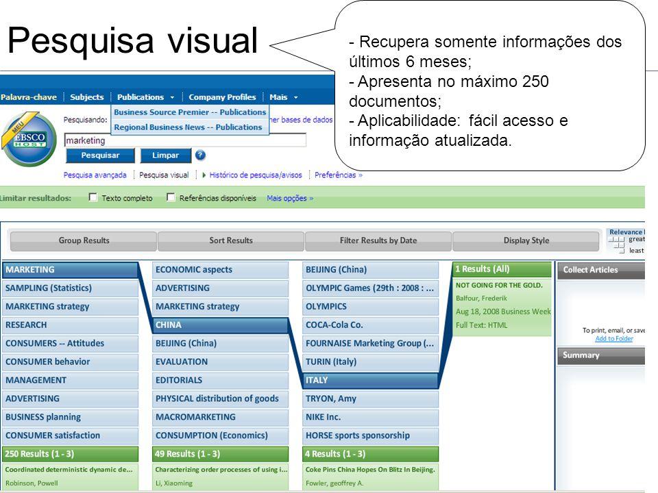 Pesquisa visual - Recupera somente informações dos últimos 6 meses; - Apresenta no máximo 250 documentos; - Aplicabilidade: fácil acesso e informação atualizada.
