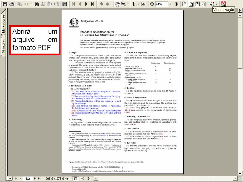 Abrirá um arquivo em formato PDF