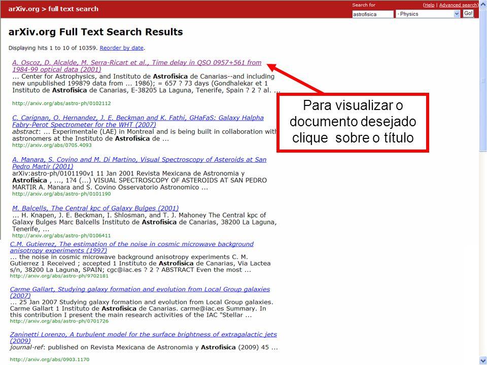 Para visualizar o documento desejado clique sobre o título
