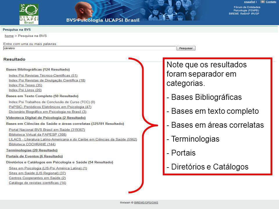 Note que os resultados foram separador em categorias. - Bases Bibliográficas - Bases em texto completo - Bases em áreas correlatas - Terminologias - P