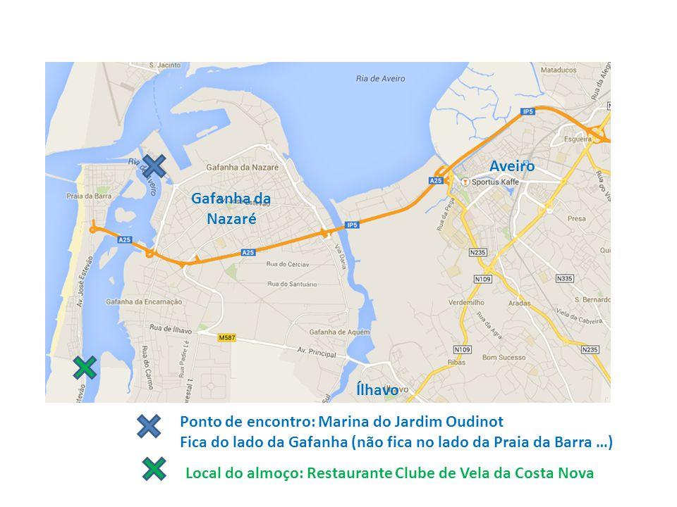 Aveiro Ílhavo Gafanha da Nazaré Ponto de encontro: Marina do Jardim Oudinot Fica do lado da Gafanha (não fica no lado da Praia da Barra …) Local do al