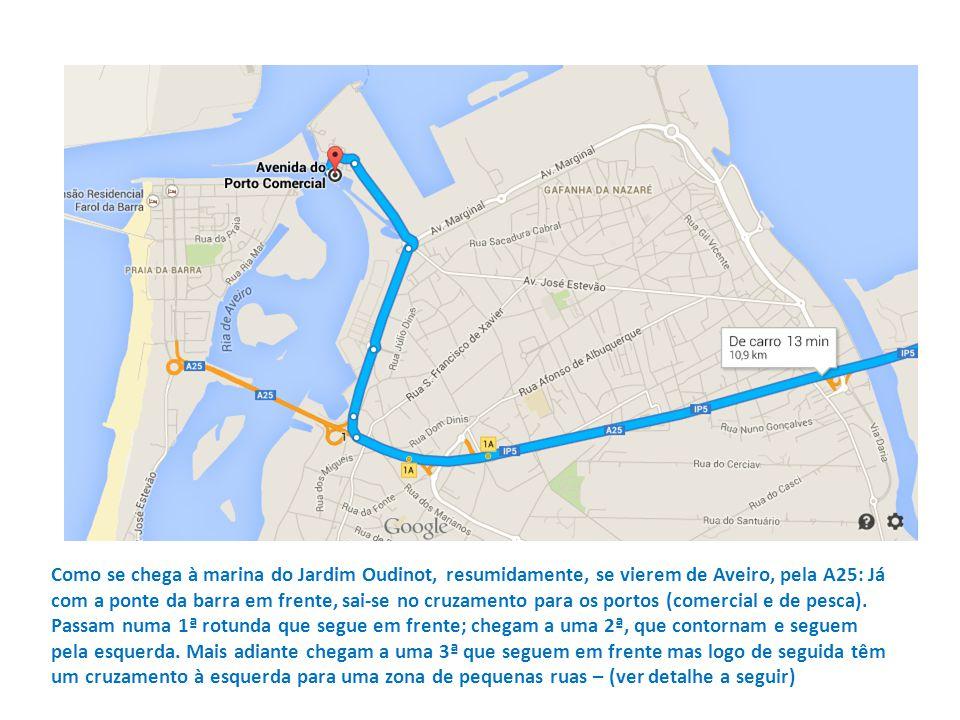 Como se chega à marina do Jardim Oudinot, resumidamente, se vierem de Aveiro, pela A25: Já com a ponte da barra em frente, sai-se no cruzamento para o
