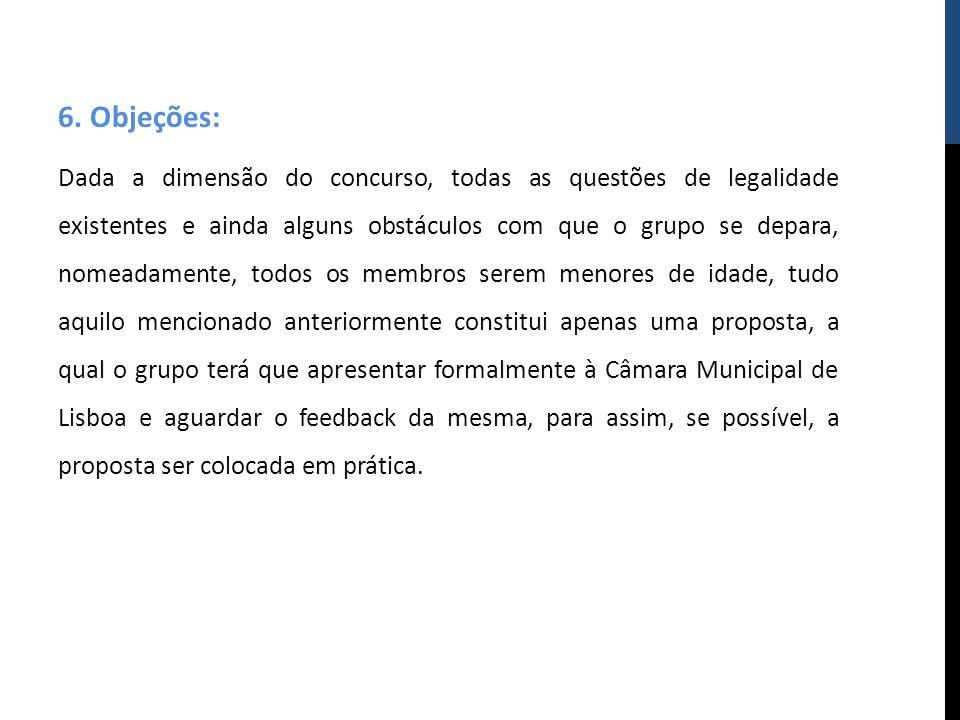 6. Objeções: Dada a dimensão do concurso, todas as questões de legalidade existentes e ainda alguns obstáculos com que o grupo se depara, nomeadamente