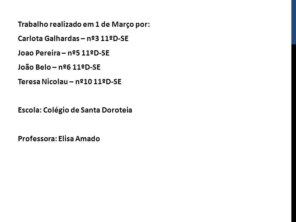 Trabalho realizado em 1 de Março por: Carlota Galhardas – nº3 11ºD-SE Joao Pereira – nº5 11ºD-SE João Belo – nº6 11ºD-SE Teresa Nicolau – nº10 11ºD-SE