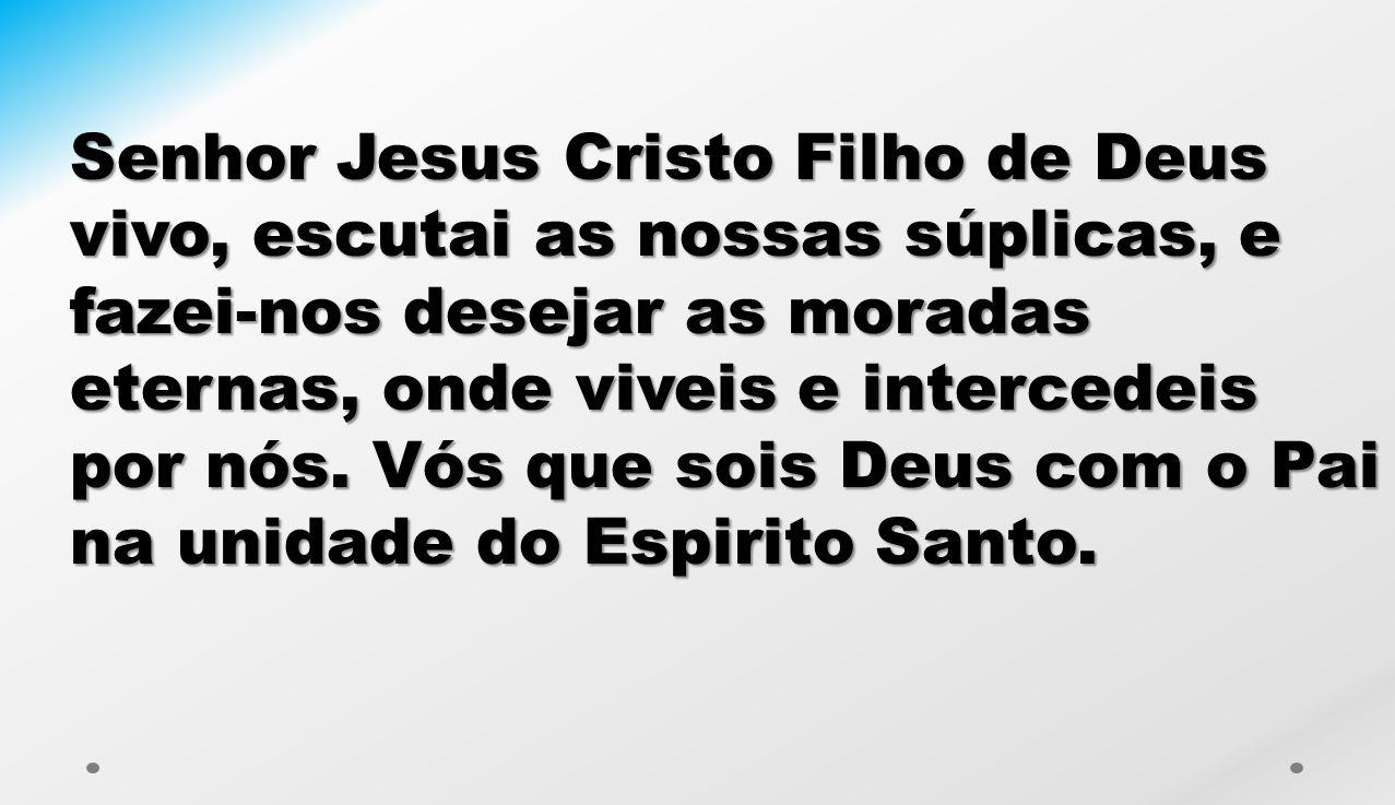 Senhor Jesus Cristo Filho de Deus vivo, escutai as nossas súplicas, e fazei-nos desejar as moradas eternas, onde viveis e intercedeis por nós. Vós que