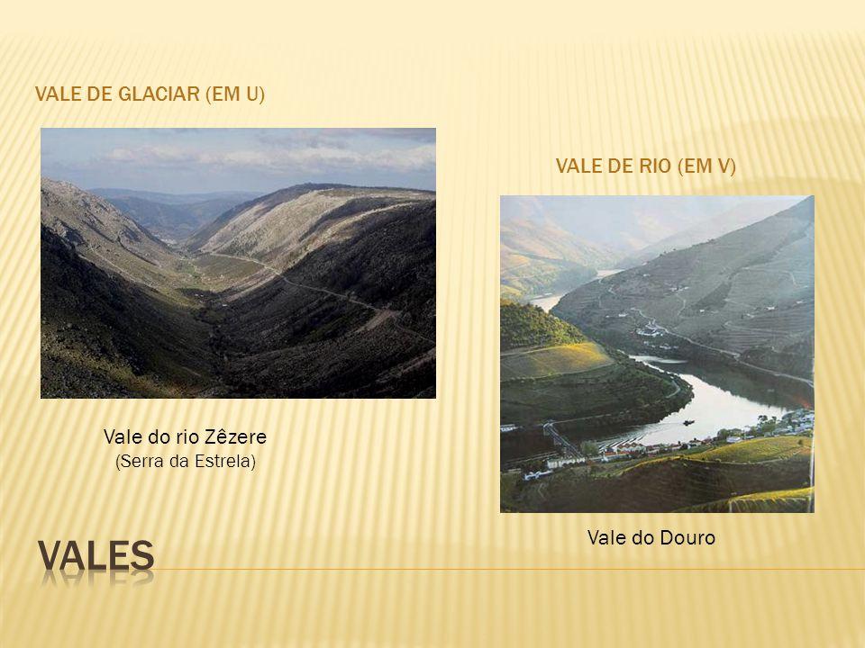 VALE DE GLACIAR (EM U) VALE DE RIO (EM V) Vale do rio Zêzere (Serra da Estrela) Vale do Douro