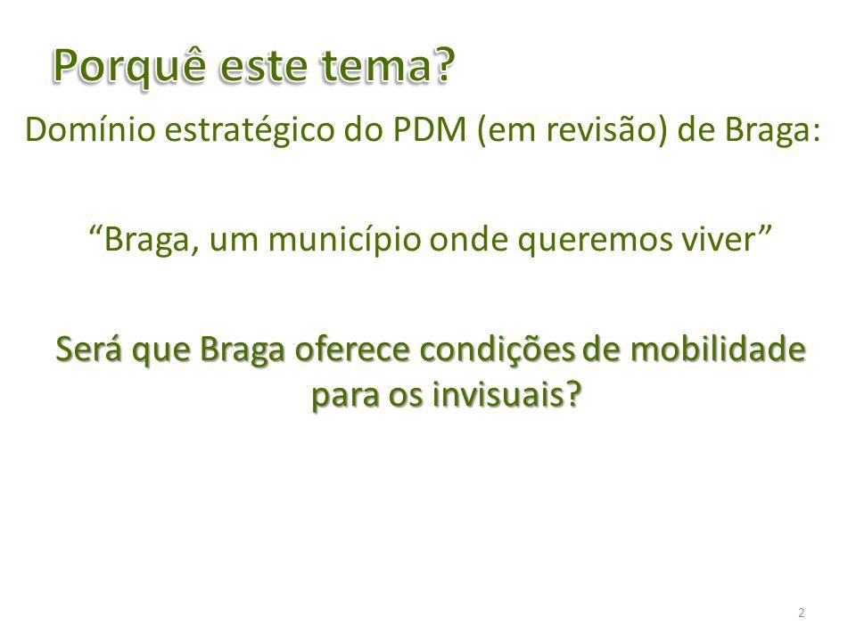 Domínio estratégico do PDM (em revisão) de Braga: Braga, um município onde queremos viver Será que Braga oferece condições de mobilidade para os invis