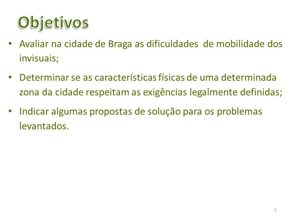 Avaliar na cidade de Braga as dificuldades de mobilidade dos invisuais; Determinar se as características físicas de uma determinada zona da cidade res